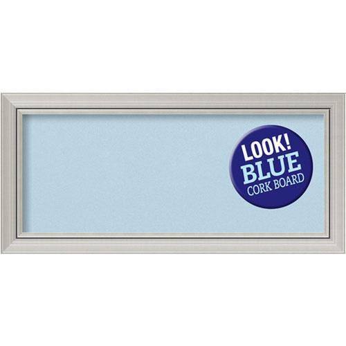 Amanti Art Romano Silver, 34 In. x 16 In. Blue Cork Board