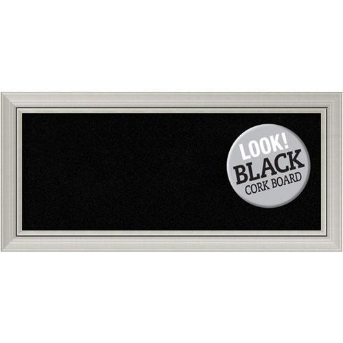Amanti Art Romano Silver, 34 In. x 16 In. Black Cork Board