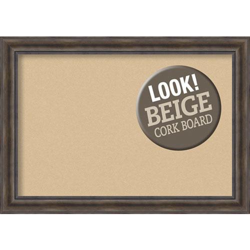 Amanti Art Rustic Pine, 42 In. x 30 In. Beige Cork Board