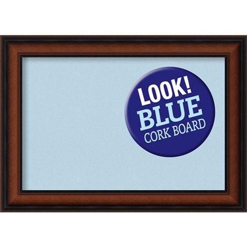 Amanti Art Cyprus Walnut, 21 In. x 15 In. Blue Cork Board