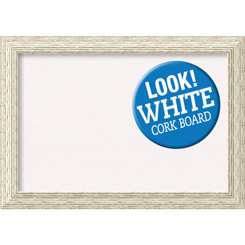 Amanti Art Cape Cod White Wash, 28 In. x 20 In. White Cork Board