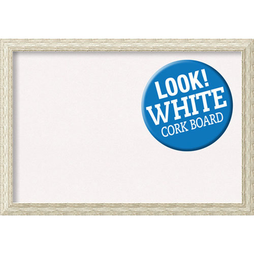 Amanti Art Cape Cod White Wash, 40 In. x 28 In. White Cork Board