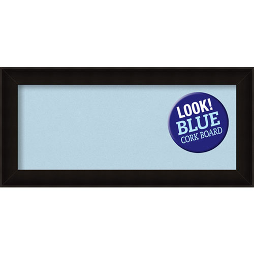 Amanti Art Manteaux Black, 34 In. x 16 In. Blue Cork Board
