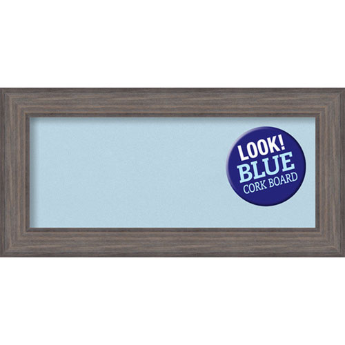 Amanti Art Country Barnwood, 36 In. x 18 In. Blue Cork Board