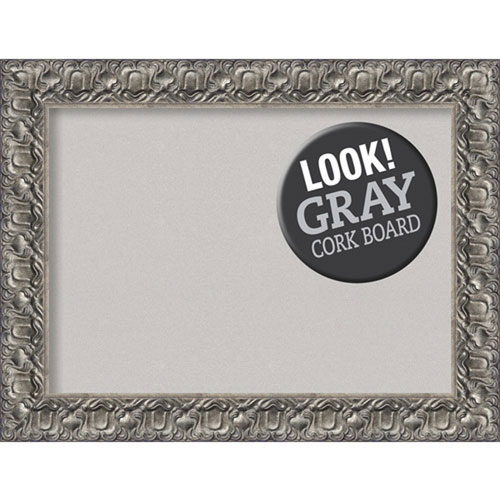Amanti Art Silver Luxor, 34 In. x 26 In. Grey Cork Board