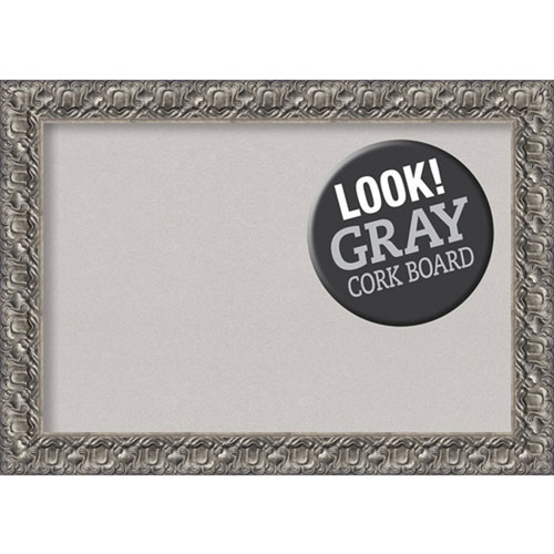 Amanti Art Silver Luxor, 42 In. x 30 In. Grey Cork Board