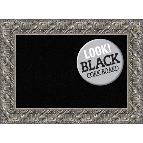Amanti Art Silver Luxor, 30 In. x 22 In. Black Cork Board
