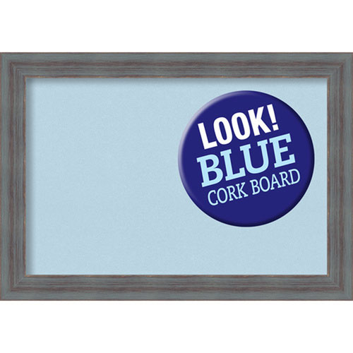 Amanti Art Dixie Grey Rustic, 20 In. x 14 In. Blue Cork Board