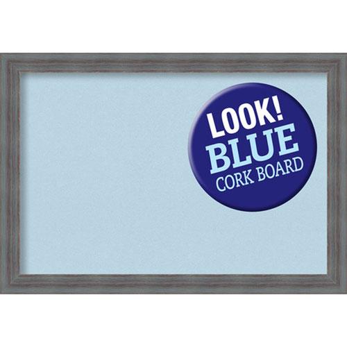 Amanti Art Dixie Grey Rustic, 26 In. x 18 In. Blue Cork Board
