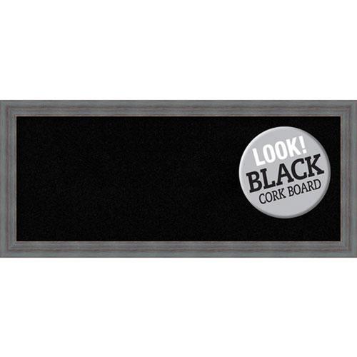 Amanti Art Dixie Grey Rustic, 32 In. x 14 In. Black Cork Board
