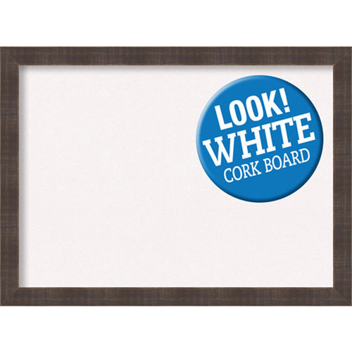 Amanti Art Whiskey Brown Rustic, 31 In. x 23 In. White Cork Board