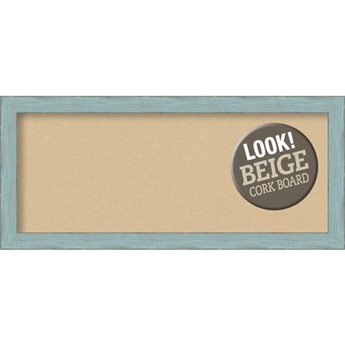 Amanti Art Sky Blue Rustic, 33 In. x 15 In. Beige Cork Board