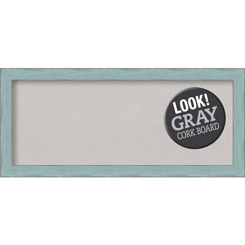 Sky Blue Rustic, 33 In. x 15 In. Grey Cork Board