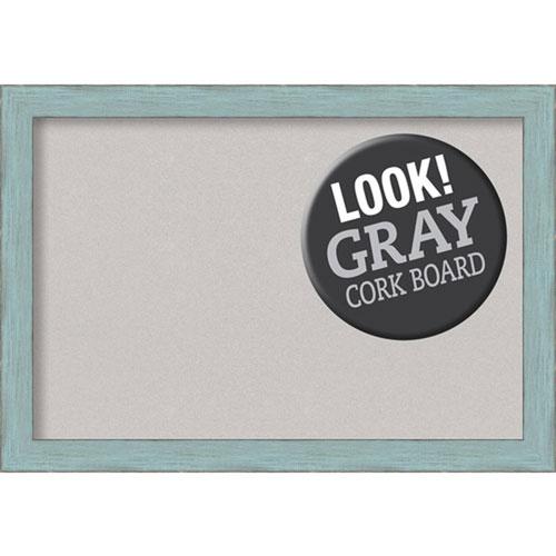Sky Blue Rustic, 27 In. x 19 In. Grey Cork Board