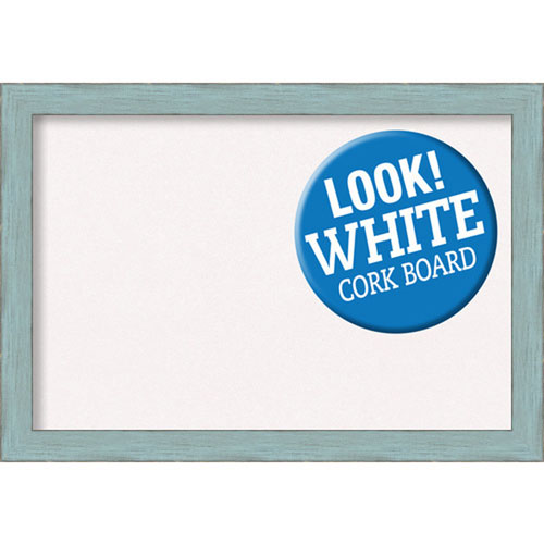 Sky Blue Rustic, 27 In. x 19 In. White Cork Board
