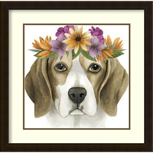 Flower Crown Pup IV by Grace Popp, 23 In. x 23 In. Framed Art