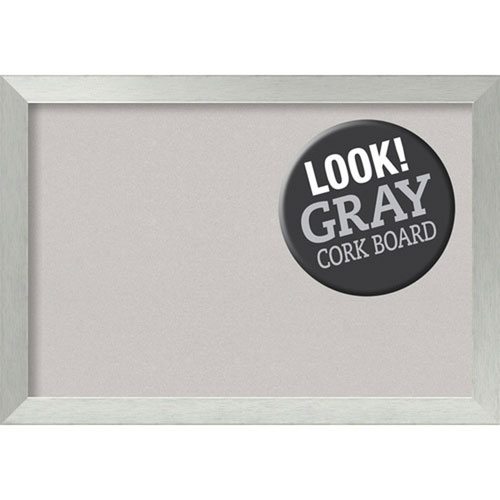 Brushed Sterling Silver, 40 In. x 28 In. Grey Cork Board
