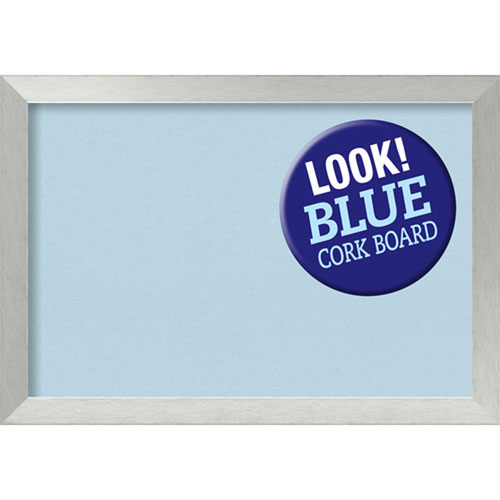 Brushed Sterling Silver, 40 In. x 28 In. Blue Cork Board