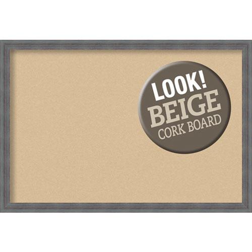 Amanti Art Dixie Grey Rustic, 38 In. x 26 In. Beige Cork Board