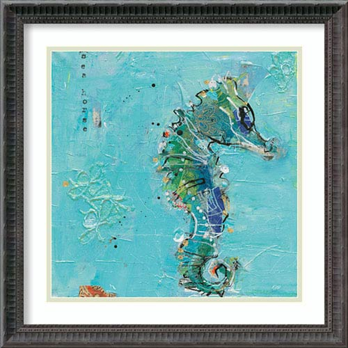 Little Seahorse Blue by Kellie Day, 23 In. x 23 In. Framed Art