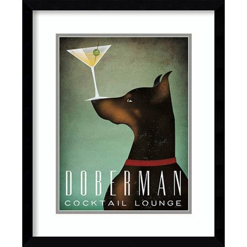 Amanti Art Doberman Martini by Ryan Fowler, 18 In. x 22 In. Framed Art