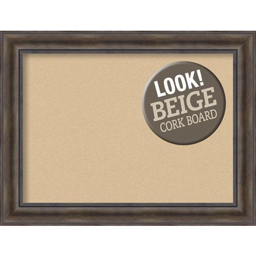 Amanti Art Rustic Pine, 34 In. x 26 In. Beige Cork Board
