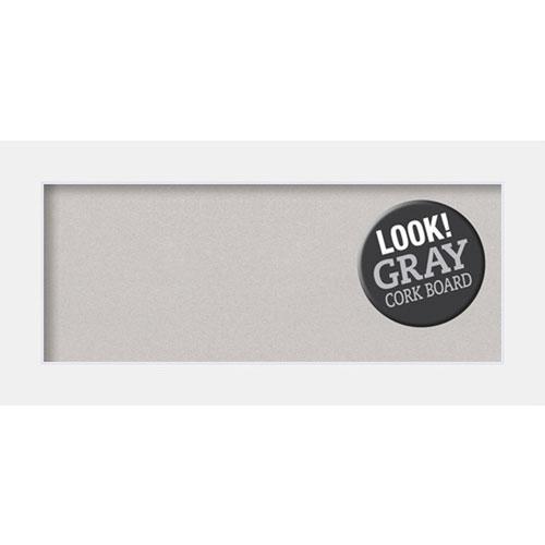 Amanti Art Corvino White, 35 In. x 17 In. Grey Cork Board