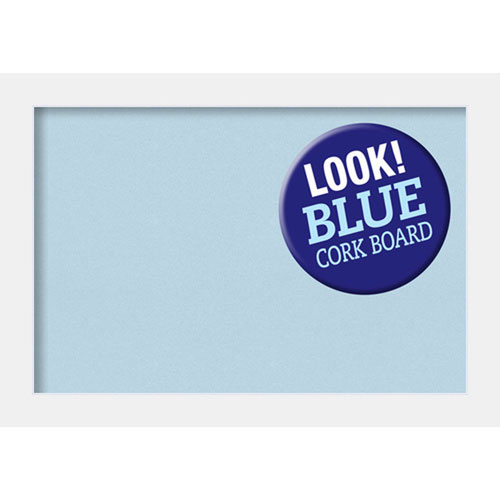 Amanti Art Corvino White, 41 In. x 29 In. Blue Cork Board