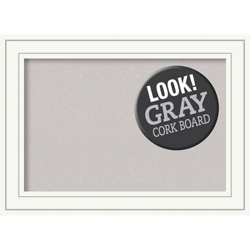 Craftsman White, 29 In. x 21 In. Grey Cork Board