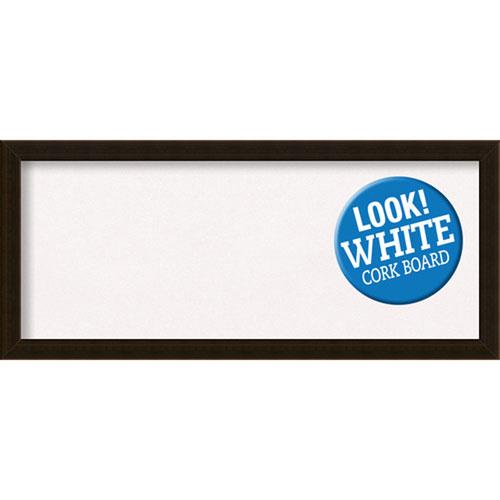 Amanti Art Espresso Brown, 32 In. x 14 In. White Cork Board