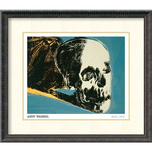 Amanti Art Skull, 1976 by Andy Warhol, 28 In. x 25 In. Framed Art