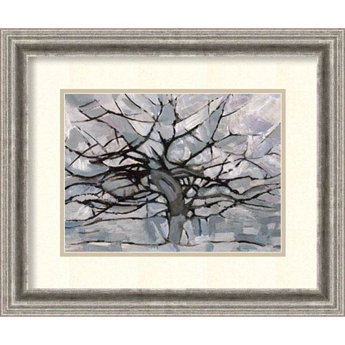 Grey Tree Abstract by Dorvard , 23 In. x 19 In. Framed Art