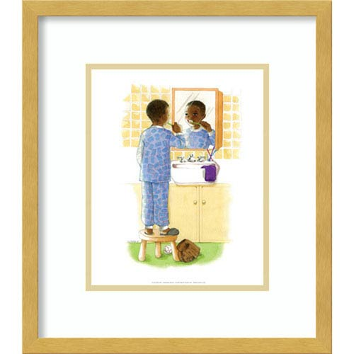 Amanti Art Sunshine Smiles (Boy) by Sylvia Walker, 14 In. x 16 In. Framed Art
