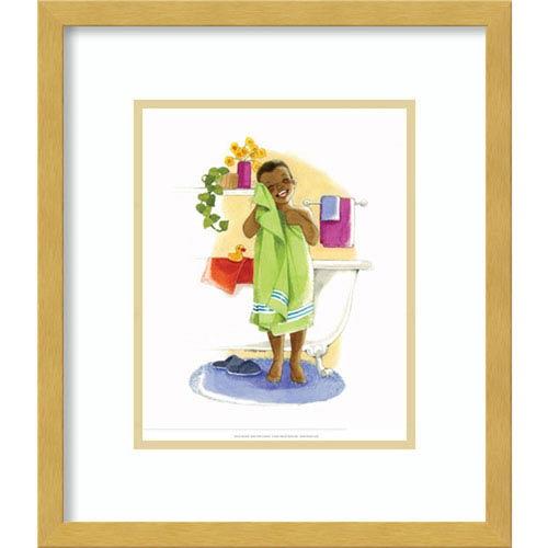 Bath Time Giggles (Boy) by Sylvia Walker, 14 In. x 16 In. Framed Art