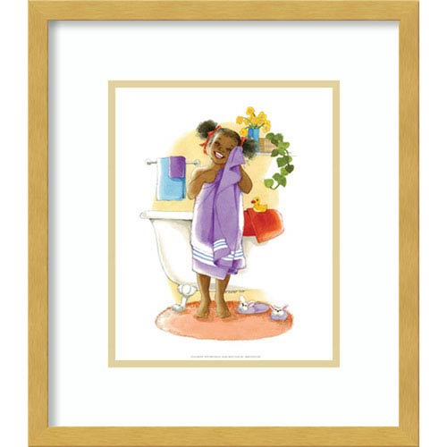 Bath Time Giggles (Girl) by Sylvia Walker, 14 In. x 16 In. Framed Art