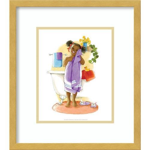 Bath Time Giggles (Girl) by Sylvia Walker, 14 In. x 16 In. Framed Art