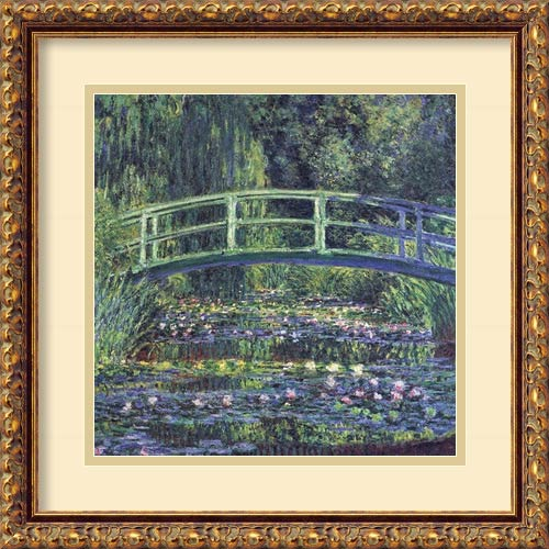 Amanti Art Water Lily Pond, 1899 (Blue) by Claude Monet: 17.88 x 17.88 Print Reproduction