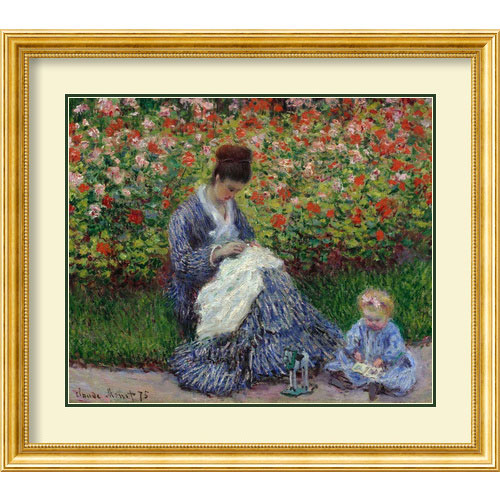 Amanti Art Camille Monet with a Child in Painters Garden at Argenteuil by Claude Monet: 30 x 34 Print Reproduction Wall Art