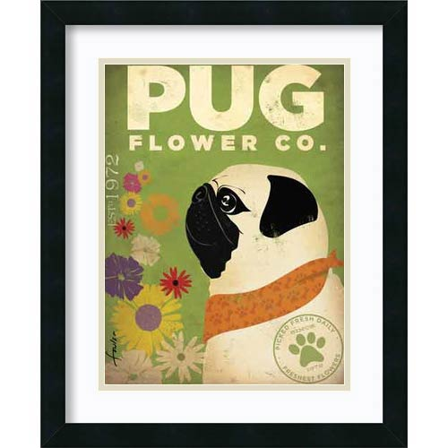 Amanti Art Pug Flower Co. by Stephen Fowler: 22 x 18 Print Reproduction