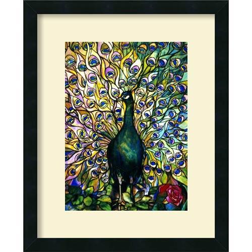 Amanti Art Fine Peacock by Tiffany Studios: 22 x 18 Print Reproduction