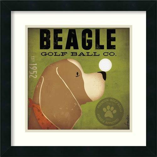 Amanti Art Beagle Golf Ball Co. by Stephen Fowler: 18 x 18 Print Reproduction