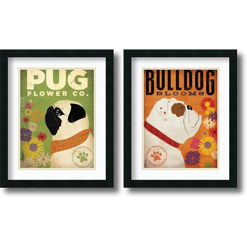 Amanti Art Pug and Bulldog Florals - Set by Stephen Fowler: 22 x 18 Print Reproduction