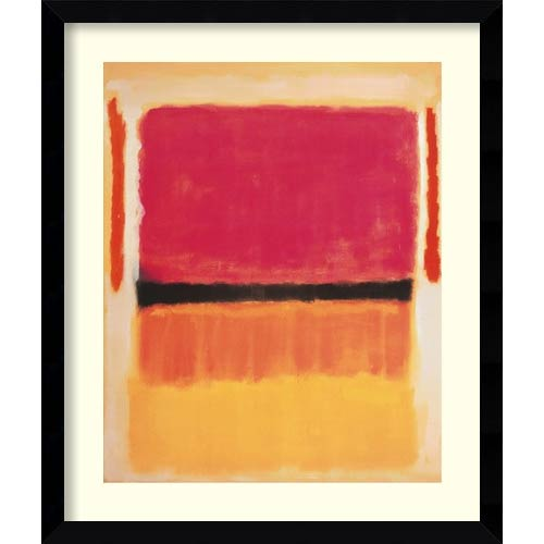 Amanti Art Untitled (Violet, Black, Orange, Yellow on White and Red), 1949 by Mark Rothko: 32.63 x 38.38 Print Reproduction