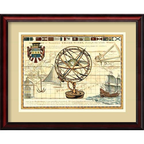 Amanti Art Nautical Map I by Deborah Bookman: 31 x 25 Framed Art Print