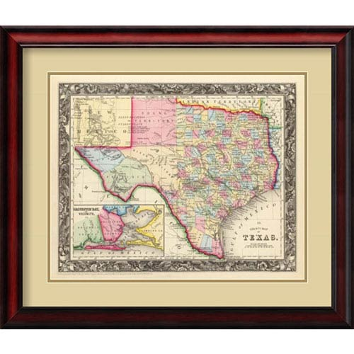 County Map of Texas, 1860 by Samuel Augustus Mitchell: 30 x 26-Inch Framed Art Print