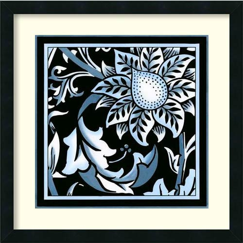 Blue and White Floral Motif II by Vision Studio: 22 x 22 Framed Art Print