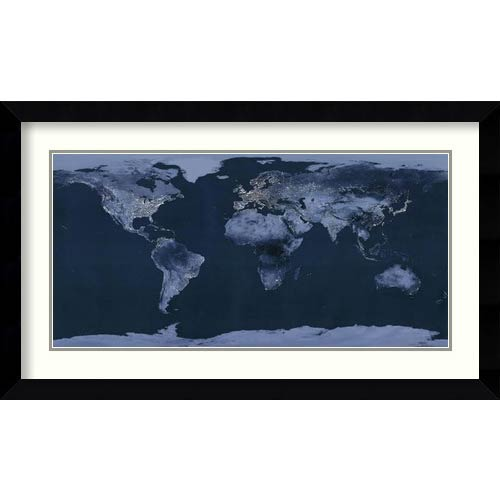 Amanti Art Satellite View of the World Showing Electric Lights and Usage by Goddard Space Center: 38 x 22 Framed Art Print