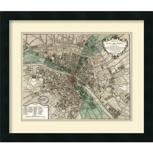 Plan de Paris by Vintage Reproduction: 21 x 18 Framed Art Print