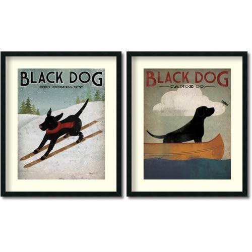 Amanti Art Black Dog by Ryan Fowler: 30 x 35.75 Print Reproduction, Set of Two