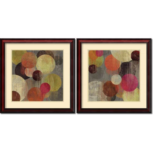 Amanti Art Magenta Bubbles by Tom Reeves: 26 x 26 Print Reproduction, Set of Two
